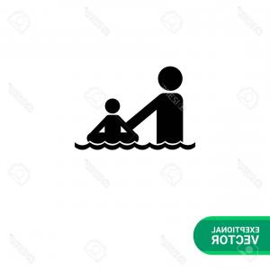 Ocean Swimming In Silhouette Vector: Photostock Vector Monochrome Vector Icon Of Father And Child With Safety Ring Swimming In Sea