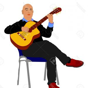 Musician Person Vector: Photostock Vector Music Man Sitting On The Chair With Guitar Guitarist Vector Illustration Guitar Player