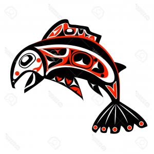 Salmon Vector Graphic: Photostock Vector Native Salmon Vector Fish In Red On White Background