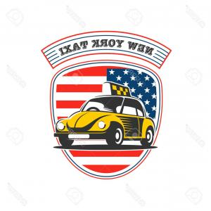 New York Taxi Cab Vector: Photostock Vector New York Taxi Vector Logo Yellow Taxi Car On An American Flag Background