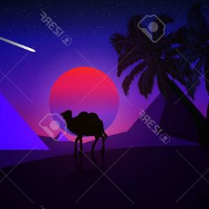 Piramids Vector Art: Photostock Vector Night Landscape Of A Palm Tree And A Camel On A Background Of A Desert Pyramids Vector Art Illustrat