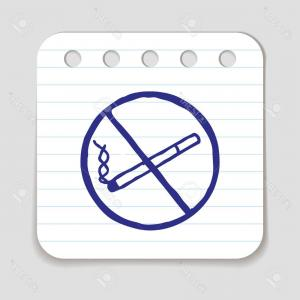 Tipped Scale Vector Art: Photostock Vector No Smoking Doodle Icon Stop Smoking Sign Blue Pen Infographic Symbol On A Notepaper Piece Line Art S
