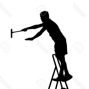 Painters Vector Black: Photostock Vector Painter Worker On Ladder Vector Silhouette Isolated On White Man Decorator Painting Wall With Paint