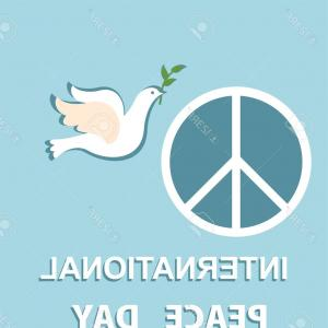 Vector Peace Out: Photostock Vector Pastel Blue Greeting Card With Paper Cut Out Dove And Peace Symbol For International Peace Day