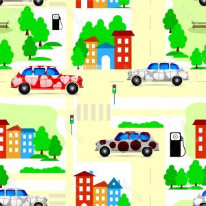 Vector Images Of Cars On Streets: Cars On Road Perspective Transport Background Gm