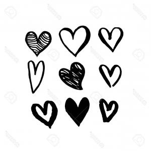 Free Heart Vector Design: Photostock Vector Pattern Of Hearts Vector Sketch Art For Valentine Day Design Marker Or Felt Tip Pen Drawing Romantic