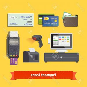 Point Of Sale Icon Vector: Photostock Vector Payment Flat Icon Set All For Business Payments Pos Terminal With Barcode Scanner And Receipt Printe