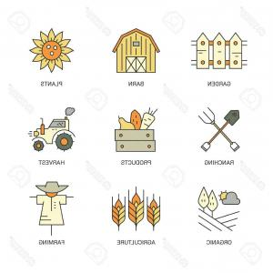 Vector Products Inc: Photostock Vector Perfect Farming Icons With Different Agricultural And Eco Product Harvesting Design Elements Includi