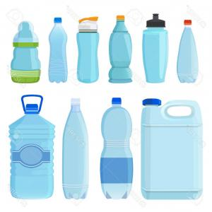 Vector Plastic Container: Photostock Vector Plastic Bottles For Water Of Different Types And Sizes