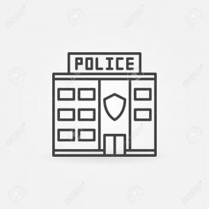 Vector Police Department: Building Of The Police Department Vector