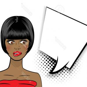 Black Woman Stock Vector: Photostock Vector Pop Art Sexy Shocked African American Black Woman