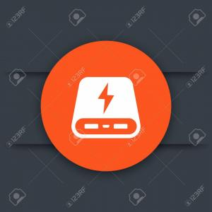 Vector Power Inverter 1500: Photostock Vector Power Bank Icon Portable Charger Round Sign Vector Illustration