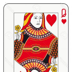 Queen Of Hearts Card Vector: Angry Queen Of Hearts Vector