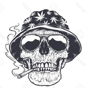 Stock Illustration Black White Human Skull Rose Mouth Tattoo Skull Vector Cool Shadows Colors To ...