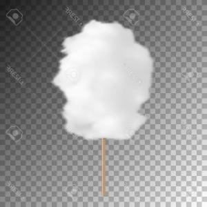 Cotton Candy Vector Transparent: Photostock Vector Realistic Cotton Candy Isolated On Transparent Background