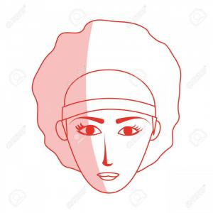 Woman Silhouette Vector Face Expression: Photostock Vector Red Silhouette Shading Cartoon Front Face Woman With Afro Hair Vector Illustration
