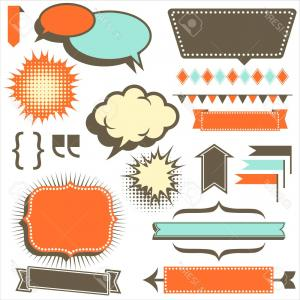 1950 Retro Vector: Photostock Vector Retro Copy Space Elements Set Of Retro S Style Design Elements Each Element Is Grouped Individu