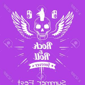 Flying Skull Vector: Photostock Vector Rock And Roll Summer Fest Forever Poster With Flying Skull Surrounded By Wings And Doodles Backgroun