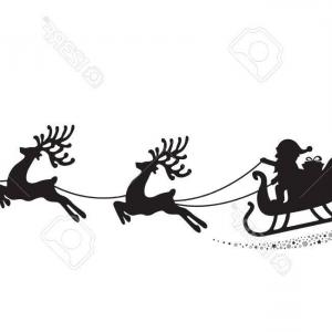 Black Santa Sleigh Vector: Photostock Vector Santa Reindeer Sleigh Flying Stars Magic White Background