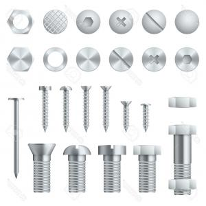 Fastener Vector: Photostock Vector Set Of Copper Fasteners Vector Illustration The Group Symbol For The Workshop Screw Bolt Nut And Nai