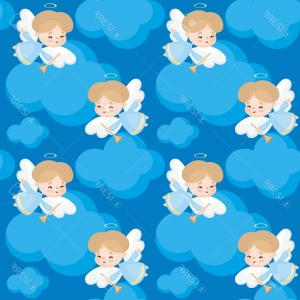 Little Angel Vector: Photostock Vector Seamless Pattern With The Image Of A Pretty Little Angel Vector Background