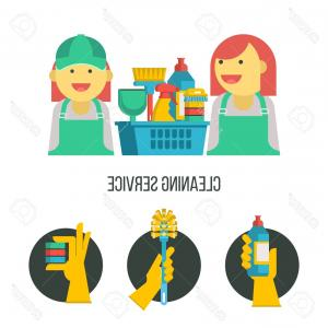 Cleaning Lady Vector: Photostock Vector Service Cleaning Colorful Vector Illustration Emblem Cleaning Kit Cheerful Maid Cleaning Lady In Ove