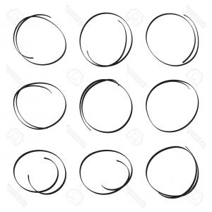 Felt Bicycles Logo Vector Graphic: Photostock Vector Set Hand Drawn Ovals Felt Tip Pen Circles Underlining Note Highlight Important Information Rough Vec