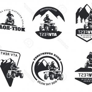 ATV Rider Vector: Photostock Vector Set Of Atv Emblems Badges And Icons All Terrain Vehicle Off Road Design Elements