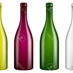 Wine Bottle Vector Drawings: Abstract Background With Glass Bottles Vector Clipart