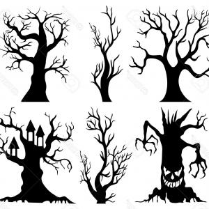 Contoon Free Black Vector Tree: Photostock Vector Cartoon Bare Trees In Black Vector Trees Without Leaves