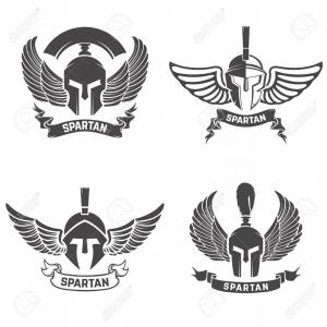 Halo Spartan Vector: Photostock Vector Set Of The Spartan Helmets With Wings Design Elements For Logo Label Emblem Sign Brand Mark Vector I