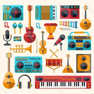 Musical Keyboard Vector: Photostock Vector Set Of Vector Modern Flat Design Musical Instruments And Music Tools Icons