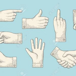 Hand Stop Vector Teal: Photostock Vector Set Of Vintage Drawing Of Hand Signs With Pointing Finger Thumbs Up Stop Handshake In Engraving Retr