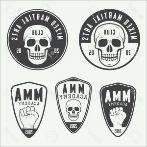 Vintage Karate Vectors: Photostock Vector Set Of Vintage Mixed Martial Arts Logo Badges And Emblems Vector Illustration