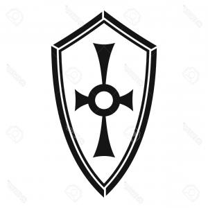 White Shield Vector: Stock Illustration Vector Black Shield Icon On