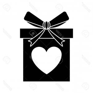 Vector Silhouette Love: Photostock Vector Silhouette Love Gift Box Bow Wrapped Vector Illustration Eps