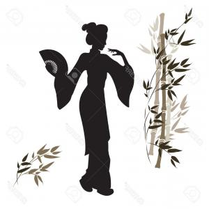 Geisha Vector Silhouette Face: Photostock Vector Silhouette Of A Geisha And Bamboo Beautiful Japanese Girl Hand Drawn Illustration Isolated