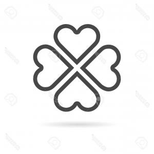 Four Leaf Clover Vector Art Black And White: Stock Photography Black White Four Leaf Clover Image
