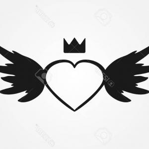 Torn Angel Wings Vector: Photostock Vector Sketch Heart Wings Crown Abstract Silhouette Isolated