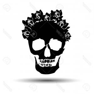Vector Skull Skeleton: Photostock Vector Skull Vector Dead Skeleton Halloween Illustration Flower