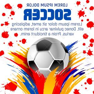 Vector Sport Spot: Photostock Vector Soccer Ball With Paint Splash Poster Of Football Sport Game Template Football Sport Club Banner Of S