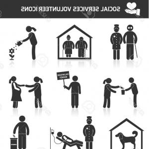 Vector Black And White Organization: Photostock Vector Social Help Services And Volunteer Organizations Icons Set Black Isolated Vector Illustration