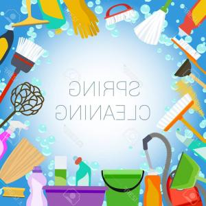 Cleaning Vector Background: Photostock Vector Spring Cleaning Background With Tools And Bubbles