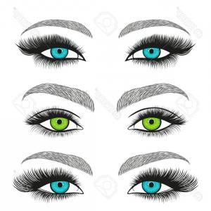 Vector Illustration Eyes Makeup: Photostock Vector Illustration Depicting Sets Of Eyes With Different Colored Eye Makeup