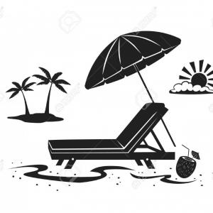 Vector Sun Vacation: Photostock Vector Summer Beach Time Vacation Silhouette Background With Umbrella Sun Lounge Chair And Palm Tree At Sea