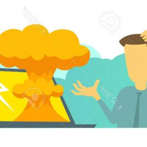 Atomic Bomb Explosion Vector: Cartoon Atomic Bomb Explosion Ground Explosion Vector