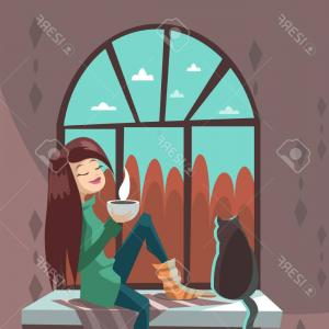 Teas Drinks Vector: Silhouette Of Girl Sitting At A Table And Drinking Tea Street Background Vector Clipart