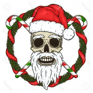 Evil Christmas Tree Vector Art: Photostock Vector The Skull Of Santa Claus In The Background Of The Branches Of The Christmas Tree And Crossed Candies