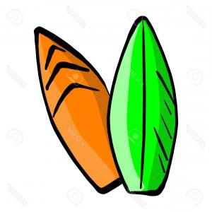 Orange Surfboard Vector: Photostock Vector Two Colorful Surfboards Vector Illustration