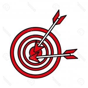 Vector Arrow Bullseye Icon: Photostock Vector Two Darts On Bullseye Icon Image Vector Illustration Design